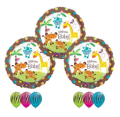 Fisher Price Welcome Baby Shower Jungle Zebra Monkey Giraffe Balloon Bouquet Set front-897548