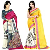 Binny Creation Women's Exclusive Combo of 2 Cotton Silk saree with blouse piece (BC_WS-31 and WS-72)