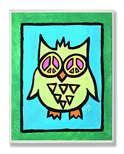 The Kids Room by Stupell Green Peace Owl Rectangle Wall Plaque
