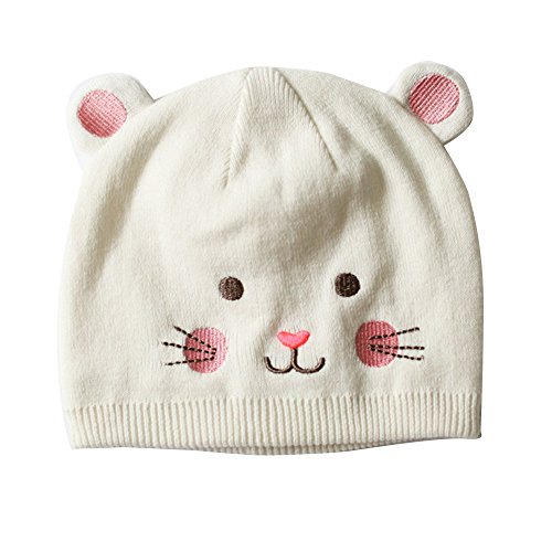Toubaby Baby Gilr Winter Hats Animal Model Cap Cat Hat White 0-4t (0-12M)