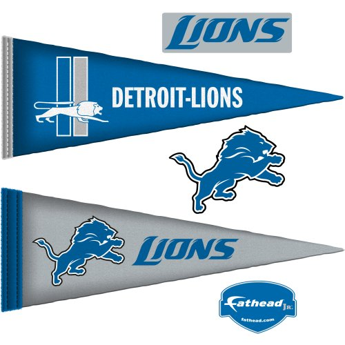 NFL Detroit Lions Junior Logo Pennants Wall Graphic from SteelerMania