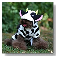 Comemall Cute Dog Clothes Pet Cat Clothing Cow Costume Jumpsuit Coat Hoodie Apparel Xs-xl (M)