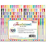 US Art Supply® Jewelescent® 120 Gel Pen Set - Professional Artist Quality Gel Ink Pens in Vibrant Colors - Classic, Glitter, Metallic, Neon, Pastel & Swirl Colors - 100% Satisfaction Guarantee