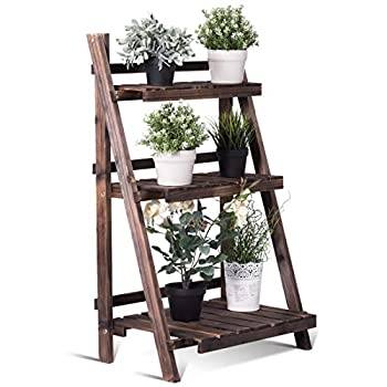 """Giantex 3 Tier Folding Wooden Plant Stand with Pot Shelf Stand Display Rack for Indoor Outdoor Garden Greenhouse, 24"""" x 15"""" x 37"""""""