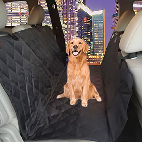 "Dog Seat Cover Plus Pet Seat Belt for Cars, Vans, Suvs & Trucks Premium Auto Car Seat Protector Keeps Upholstery Free of Mud Dirt 58"" By 64"" Extra Large Adjustable 19.7""-31.4"" Seat Belt X-large Black"