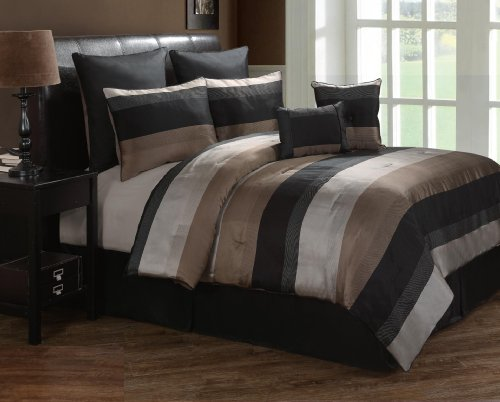 Victoria Classics Harper 8-Piece King Comforter Set, Black/Taupe