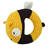 Dandelion Hand Crocheted Ring Rattle, Bee