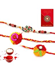 Ethnic Rakhi Fashionable And Stylish Rajasthani Colorful Floral Pattern Mauli Thread And Beads Rakhi Set Of 3...