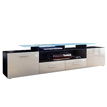 meuble tv bas almada almada v2 en noir mat gris sable laqu haute brillance cuisine. Black Bedroom Furniture Sets. Home Design Ideas