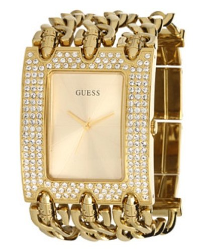 GUESS Women's U0085L1 Chain-Link Rhinestone Watch