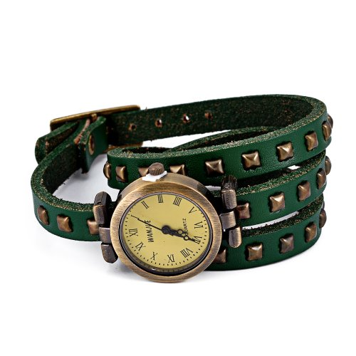 Imixlot Women's and Men's Retro Vintage Punk Ladies Womens Genuine Cow Leather Cuff Rivet Bracelet Bangle Watch Roma Number Dial Wristwatch Color of Green