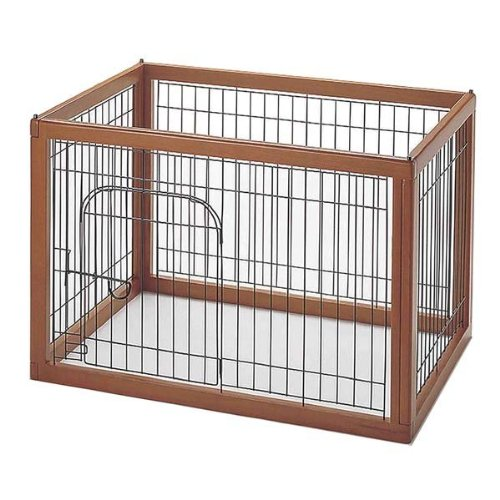 Richell Wood Pet Pen 90-60, Autumn Matte Finish