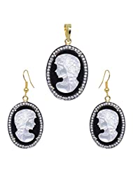 Gehna Mother Of Pearl & Black Spinel Gemstone Studded Cameo Pendant & Earring Set