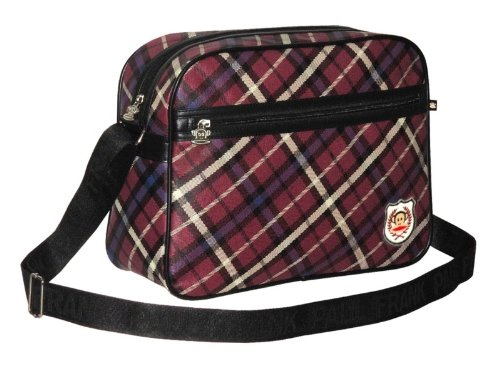 Paul Frank Burgundy Retro Tartan Check Messenger Bag