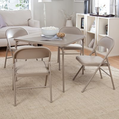 Folding Card Table and 4 Padded Chairs