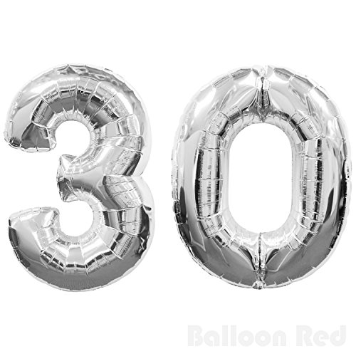 16 Inch Foil Mylar Balloons for Wall Decoration (Premium Quality, Air Fill Only), Glossy Silver, Number 30 (Big Spoon Decoration On Wall compare prices)