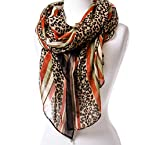 Leopard Print Stripe Scarf