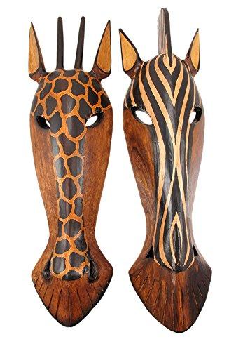 Zebra And Giraffe Jungle Mask Wall Hangings 22 Inch front-949420