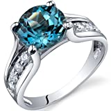 Solitaire Style 2.25 carats London Blue Topaz Ring in Sterling Silver Rhodium Finish Available in Sizes 5 thru 9