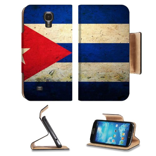 Flag Of Cuba Painted Design Samsung Galaxy S4 Flip Cover Case With Card Holder Customized Made To Order Support Ready Premium Deluxe Pu Leather 5 Inch (140Mm) X 3 1/4 Inch (80Mm) X 9/16 Inch (14Mm) Luxlady S Iv S 4 Professional Cases Accessories Open Came