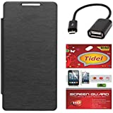 Tidel Black Durable Premium Flip Cover Case For Infocus M370i With Tidel Screen Guard & Micro OTG Cable