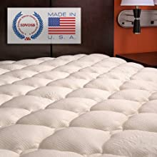 Extra Plush Rayon from Bamboo Fitted Mattress Topper - Made in America - Queen Pad