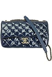 Chanel Womens Blue Patent Leather Flap Chain Shoulder Bag