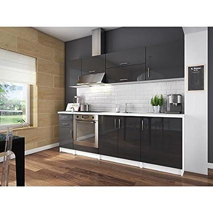 City cuisine complete 2m40 - gris laqué haute brillance