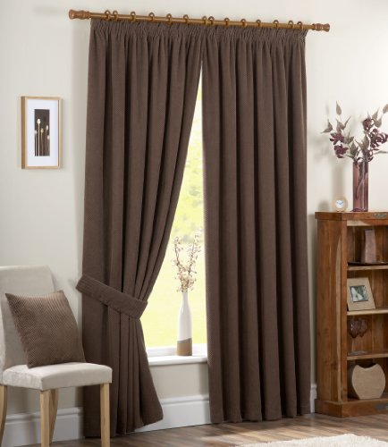 Dreams 'n' Drapes Chenille Spot Single Pass Thermal Coated Curtains, 3-inch, 90 x 108-inch, Chocolate