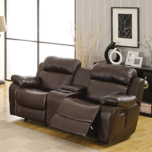 Recommend marille reclining loveseat w center console cup holder brown leather ebay Loveseat with cup holders