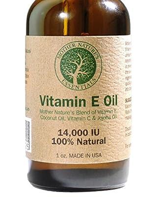 Vitamin E Oil 100% Pure & Natural 1oz Vitamin E Oil 14,000 IU (d-alpha tocopherol) + Jojoba Oil + Vitamin C + Coconut Oil. Unscented. Unique Formula of Natural Nourishing Oils Known to Assist in Diminishing Fine Lines, Wrinkles, Moisturize the Skin, Dimin