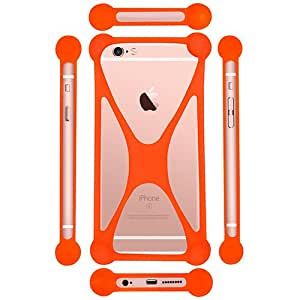 Casotec Universal Silicone Bumper Frame Soft Gel Phone Case Cover for Micromax Canvas Fire+ 4G Q412 - Orange