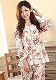 花柄 フリル の かわいい パジャマ 薄手 長袖 上下 セット (XL)
