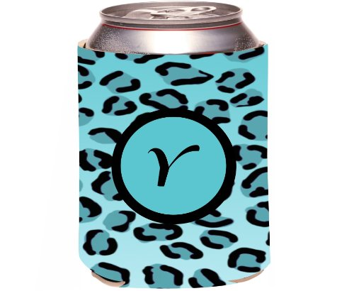"Rikki Knighttm Letter ""Y"" Initial Sky Blue Leopard Print Monogrammed Design Drinks Cooler Neoprene Koozie front-564498"