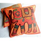 2 Orange Applique Handmade Patchwork Ethnic Indian Elephant Throws Pillow Cases Toss Cushion Covers