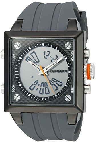 Cepheus Men's Quartz Watch with Black Dial Analogue - Digital Display and Grey Silicone Strap CP900-622B