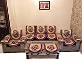 AMBER CHENILLE REVERSIBLE PURPLE SOFA SLIPCOVER SET WITH 6 ARMS COVER