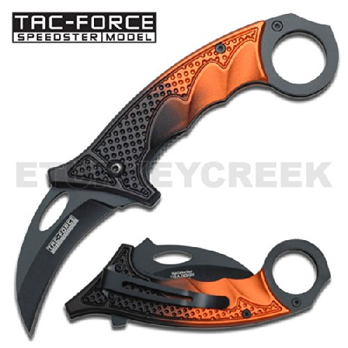 "Tf-596Or Karambit Tactical Spring Assist.Black Orng 2 Tone Hndl Gbslmwldng 5"" X8Ma2 Closed Ajuiioptr 4567Fffg 567Ybghjk Karambit Style Spring Assist Pm7E7Rps Knife. All Black Stainless Steel Blade. Featuring 2 Tone Black Orange Aluminum Rw5Yaoqijk Handle"