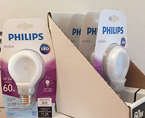 Philips Slimstyle 10.5-Watt Daylight Led (60 W A19 Replacement) Light Bulb, Dimmable, 4 Pack