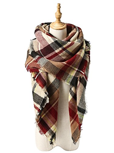 Zando Plaid Blanket Thick Winter Scarf Tartan Chunky Wrap Oversized Shawl Cape C Pink (British Flag Outfit compare prices)