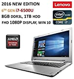 "2016 Newest Lenovo IdeaPad 15.6"" FHD Flagship Laptop, Intel Core i7-6500U,AMD R7 M360 Graphics 2GB, 8GB RAM, 1TB HDD, DVD, Backlit Keyboard, Bluetooth, HDMI, 802.11AC, Intel 3D RealSense Camera, Win10"
