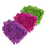 Pack of 3 Double Sided Microfiber Dust Cleaning Glove for Home Office Kitchen Hotel (Assorted Colors)