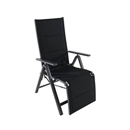 Greemotion silla plegable de aluminio de Grenada con reposapiés–Silla de jardín de aluminio en gris con respaldo de 7posiciones–Diseño Lounge–Sillón de jardín c