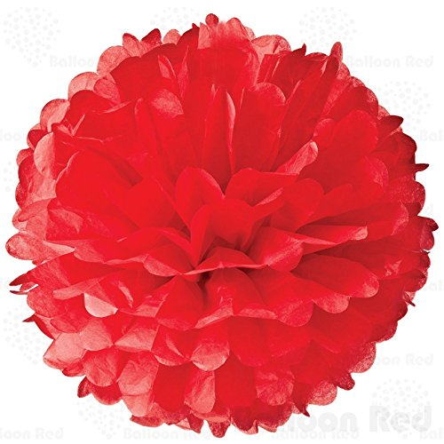 8 Inch Tissue Paper Flower Pom Poms, Pack of 10, Red