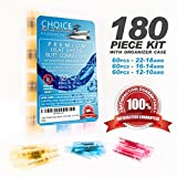 180pc Premium Heavy Duty Marine Grade Heat Shrink Butt Connectors: Adhesive Lined Watertight Seal, Easy Crimp, Low-Heat Rapid Shrink, Qty 60 each 12-10, 16-14, 22-18 AWG Perfect for boats, cars & home