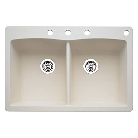 Blanco 440222-4 Diamond 4-Hole Double-Basin Drop-In or Undermount Granite Kitchen Sink, Biscuit