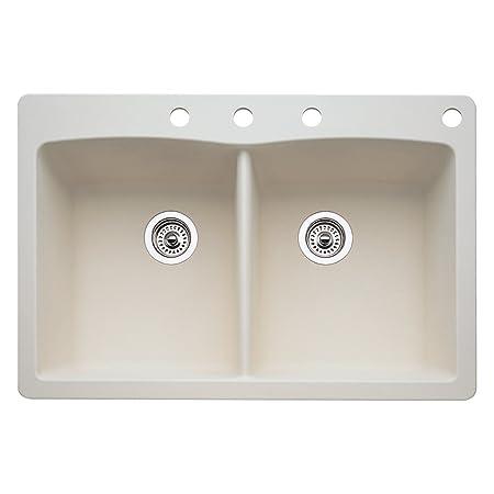 Blanco 440222-4 Diamond 4-Hole Double-Basin Drop-In or Undermount Granite Kitchen Sink, Biscuit