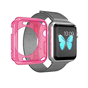 Apple Watch Case 38mm LUVVITT Clarity Full Body Clear Soft Flexible TPU Case with Tempered Screen Protector for Apple Watch - 38m Neon Pink Neon Transparent Pink