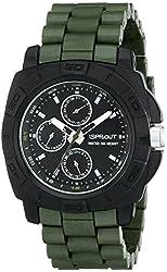 Sprout Men's ST/3802BKGN Multi-Function Bamboo Dial Green Corn Resin Bracelet Watch