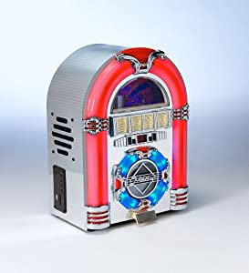 Review and Buying Guide of Cheap MP3 CD Rock Mini LED Jukebox - COLOUR CHANGING LED LIGHTS - RADIO / CD / MP3 Playback: USB 2.0 / SD Memory card + Aux: iPod / iPhone / MP3 player etc - SILVER METALLIC FOIL FINISH